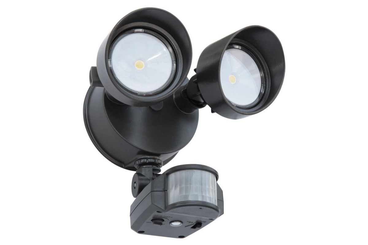 New Lithonia Lighting 2 Head Led Floodlight With Motion Sensor